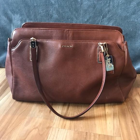Coach Handbags - Large coach purse. leather, satin, gold accent